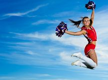 Cheerleader woman jumping Royalty Free Stock Photos