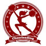 Cheerleaderausweis oder Beifalllogo Lizenzfreies Stockbild