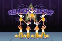 Cheerleadern in einem cheerleading Wettbewerb Lizenzfreie Stockbilder