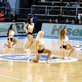 Cheerleaders. Efes Pilsen Cheerleaders perform routines at THY Euroleage Top 16 Championship basketball game Efes Pilsen vs Montepaschi Siena January 20, 2011 in Stock Photo