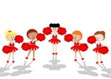 Cheerleaders. In red. five girls Stock Photography