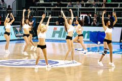 Cheerleaders. Efes Cheerleaders perform routines at THY Euroleage Top 16 Championship basketball game Efes Pilsen vs Montepaschi Siena January 20, 2011 in Royalty Free Stock Photography