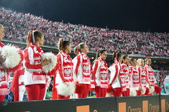 Cheerleaders. CHORZOW, POLAND - SEPTEMBER 5: Polish cheerleaders before the 2010 FIFA World Cup qualifying match between Poland and Northern Ireland on September Stock Photos