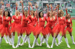 Cheerleaders in actie Royalty-vrije Stock Foto's