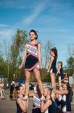 Cheerleaders in the american festifal of Lutherbach. Lutherbach - France - 19 October 2014 - cheerleaders in the american festifal of Lutherbach Stock Images