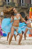 Cheerleaders. In Amsterdam during a beachvolleybal match Stock Images