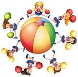 Cheerleaders around the beach ball. Illustration Stock Photos