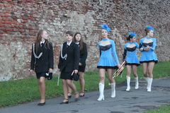 Cheerleaders and band Royalty Free Stock Photos