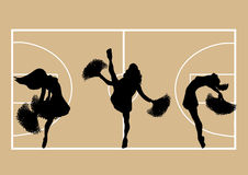 Cheerleaders Basketball 1 Stock Image