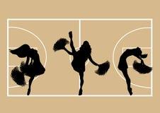 Cheerleaders Basketball 1. Illustration of cheerleaders on basketball court background Stock Image