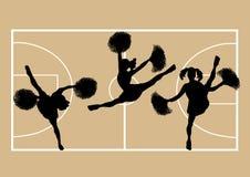 Cheerleaders Basketball 2. Illustration of cheerleaders on basketball court background Stock Photography