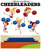Cheerleaders cheering in the field. Illustration Royalty Free Stock Image