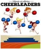 Cheerleaders cheering in the field Royalty Free Stock Image