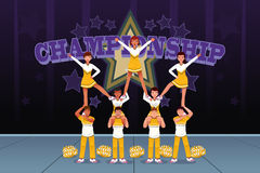 Cheerleaders in a cheerleading competition. A vector illustration of cheerleaders in a cheerleading competition Royalty Free Stock Images