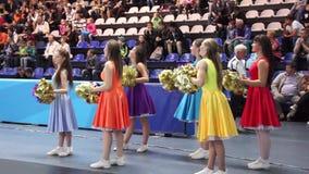 Cheerleaders stock video footage