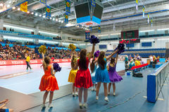 Cheerleaders. CHEKHOV, RUSSIA - SEPTEMBER 17: Cheerleaders girls age 10-13 support players on September 17, 2015 in Chekhov, Russia. Champions League. Chekhov Royalty Free Stock Photo