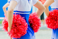 Cheerleaders closeup royalty free stock photo