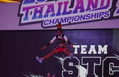 Cheerleaders contest in Thailand royalty free stock photos