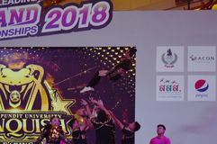 Cheerleaders contest in Thailand stock photography