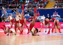 Cheerleaders of CSKA team stock images