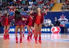 Cheerleaders of CSKA team stock photo