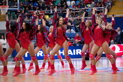Cheerleaders of CSKA team Royalty Free Stock Images