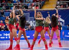 Cheerleaders of CSKA team Royalty Free Stock Photo