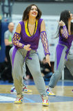 Cheerleaders are dancing on basketball court Royalty Free Stock Images