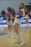 Cheerleaders are dancing on basketball court Royalty Free Stock Photo