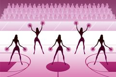 Cheerleaders dancing on basketball field. At halftime - vector illustration Royalty Free Stock Image