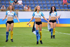 Cheerleaders are dancing during the break Royalty Free Stock Images