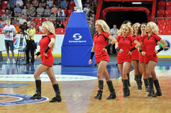 Cheerleaders dancing on the floor Stock Photos