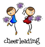 Cheerleaders dancing. Illustration of the cheerleaders dancing on a white background royalty free illustration