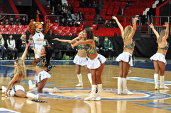 Cheerleaders dancing Stock Images