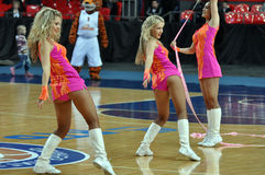 Cheerleaders dancing with ribbons Royalty Free Stock Image