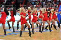 Cheerleaders dancing in a row Stock Photography