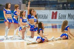 Cheerleaders dans. MOSCOW - DECEMBER 4, 2014: Unidentified cheerleaders dans on the International Europe bascketball league match Dynamo Moscow vs Maccabi Ashdod Stock Image