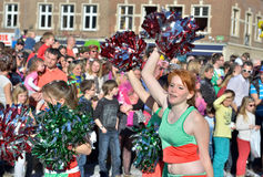 Cheerleaders in defile during yearly carnival in Nivelles Stock Photography