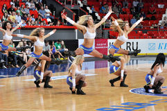 Cheerleaders doing splits in the air Royalty Free Stock Images