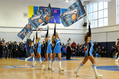 Cheerleaders with flags Royalty Free Stock Images