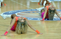 Cheerleaders on the floor Royalty Free Stock Images