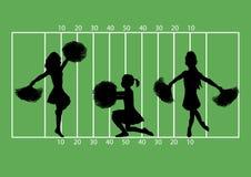 Cheerleaders Football 4. Illustration of cheerleaders on football field background Royalty Free Stock Image
