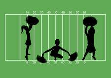 Cheerleaders Football 6. Illustration of cheerleaders on football field background Stock Photo