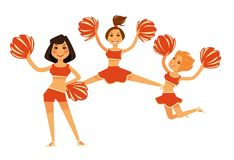 Cheerleaders girls performing with cheerleading garment accessory vector flat isolated icons Royalty Free Stock Image
