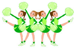 Cheerleaders in green - vector. A team of cheerleaders in green dress. Vector illustration stock illustration
