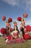 Cheerleaders In Group Cheering Stock Photos