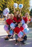 Cheerleaders have fun during the festival of color royalty free stock photography