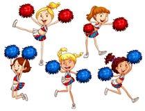 Cheerleaders. Illustration of many cheerleaders cheering Stock Photography