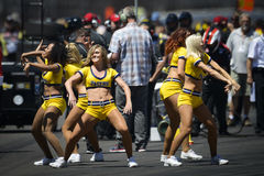 Cheerleaders at the Indianapolis 500 2014. Cheerleaders at the Pit Stop challenge of the 2014 Indianapolis 500 Motor Race event on May 24, 2014 Royalty Free Stock Photo