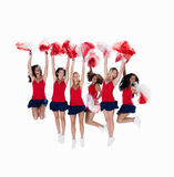 Cheerleaders jumping in the air Stock Photography